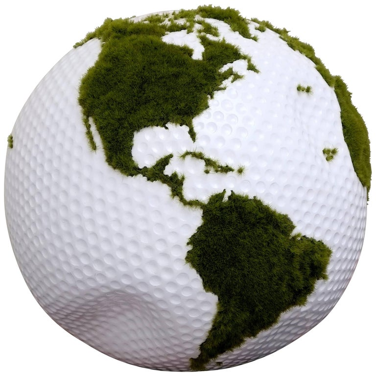 Golf Globe Made of Teak Root with Artificial Grass Finishing, 30 cm