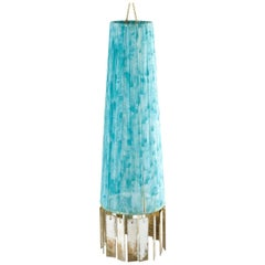 Magic Contemporary Hanging Lamp, blue Gauze Strips, Double Silvered Glass
