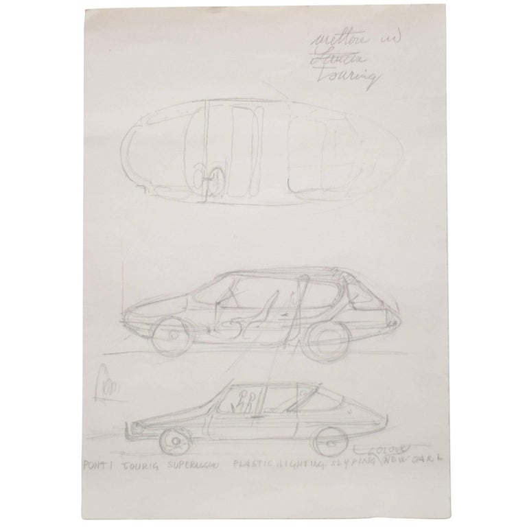 Important Original Drawing by Gio Ponti for Touring Carrozzeria Milan, 1952