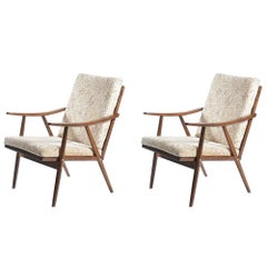 1960s Armchairs in Dark Beech by Ton, Czechoslovakia