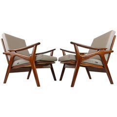 Pair of Vintage Design Lounge Chairs by De Ster Gelderland Teak Brown Grey, 1960