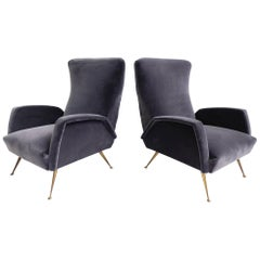 Pair of Italian Deep Grey Velvet Armchairs