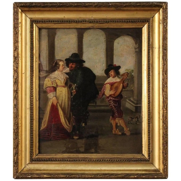 19th Century French Painting Gallant Scene with Musician Oil on Panel