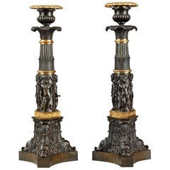 Early 19th Century Bronze Candlesticks with Dolphins