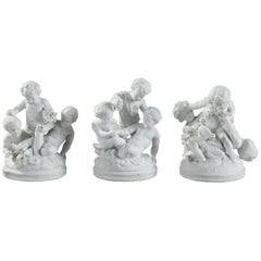 19th Century Three Bisque Porcelain Children Playing Groups in Sevres Style