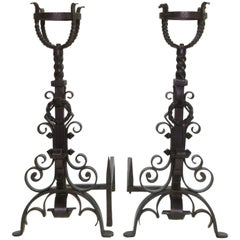 17th Century Style, Pair of English Andirons with Scroll Detail