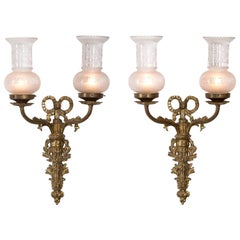 Pair of Louis XVI Appliqué Wall Sconces, Electrified