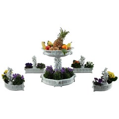 Bisque Centerpiece Basket and Four Jardinieres by Volkstedt-Rudolstadt, Germany