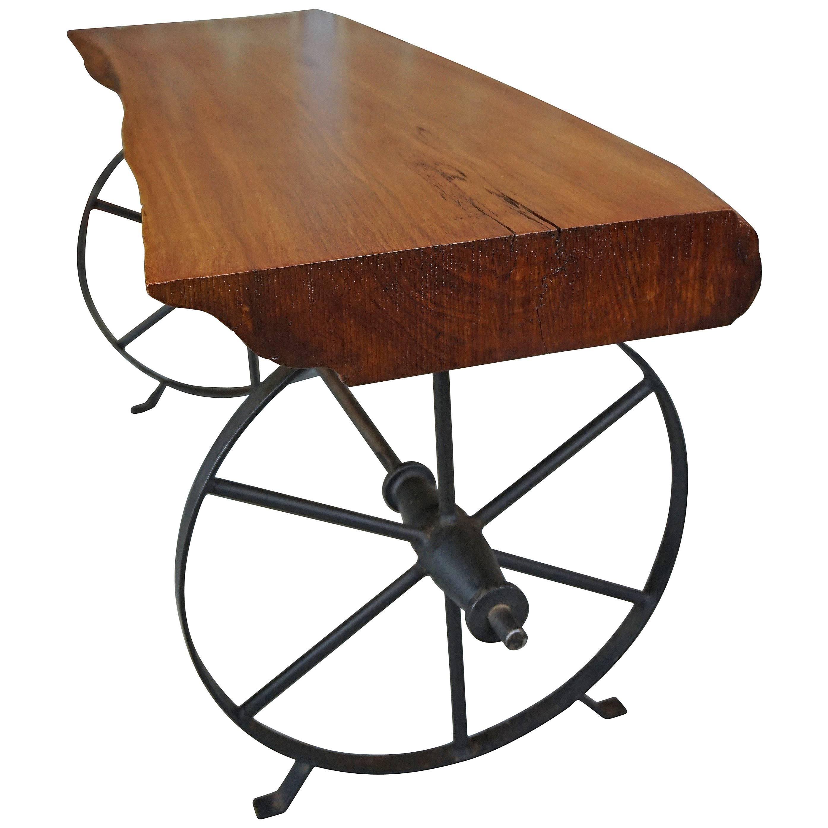Solid Wood and Iron French Design of the 1950 Coffee Table