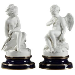 Two Sevres Porcelain Figurines Menacing Cupid and Psyche after Falconet
