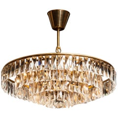 1950s, Crystal and Brass Ceiling Lamp Chandelier