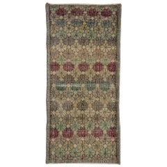 Distressed Vintage Turkish Sivas Rug with Rustic English Traditional Style