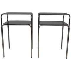 Chrome and Smoked Glass Pair of Side Tables 1970s Design