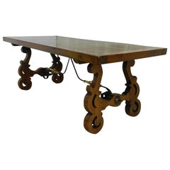 Spanish Dining Table Oak Refectory Baroque, Vintage, 20th Century