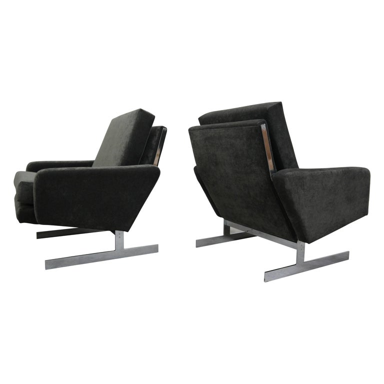Pair of Midcentury Chrome Cantilever Lounge Chairs