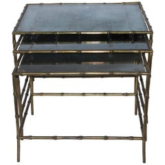 Maison Baguès Style Three Nesting Tables, Bronze and Aged Glass Top, circa 1970