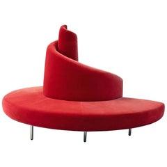 """Edra """"Tatlin"""" Round Red Sofa, Italy, 1989"""