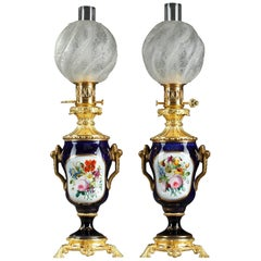 Napoleon III Bayeux Porcelain and Ormolu Antique Oil Lamps