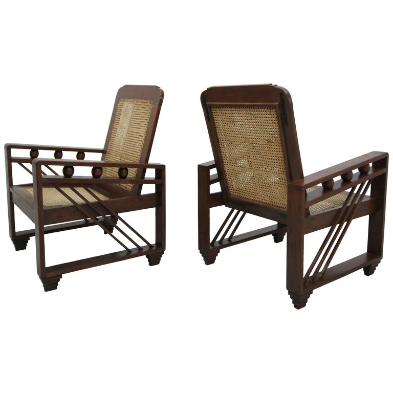 Pair of Antique French Art Deco Solid Wood Lounge Chairs with Cane Backs & Seats