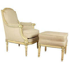Louis XVI Style Paintwood Armchair and Ottomane, Late 19th Century