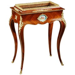 French Napoleon III Large Wood Jardinière in Sevres Taste