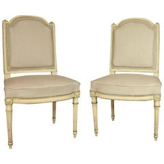 Pair of Louis XVI Style Paintwood Side Chairs, Late 19th Century