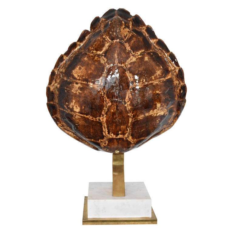 Mid-Century Modern Turtle Tortoise Shell and Brass Table Lamp Mounted on Marble