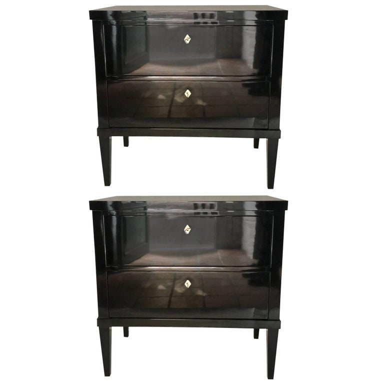 Pair of Black Lacquered Biedermeir Style Commodes or Nightstands