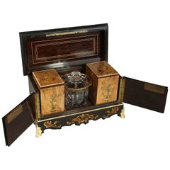 19th Century Ebony Tea Caddy with Wood Marquetry and Brass Inlay