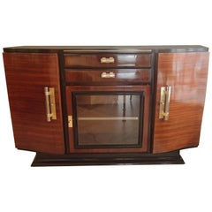 Art Deco Sideboard Rosewood and Black Glass Door Two Drawers Brass Handles