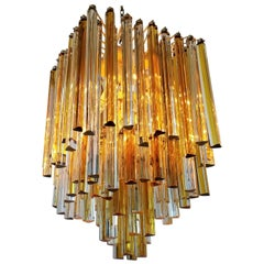 1960s Early Venini Amber and Clear Glass Prisms Chandelier, Italy