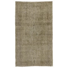 Distressed Vintage Turkish Rug with Rustic Farmhouse Style and Warm Colors
