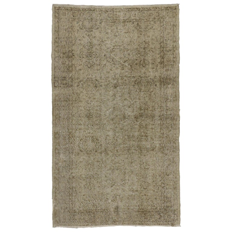Distressed Vintage Turkish Rug with Rustic Farmhouse Style and Warm Colors For Sale