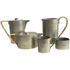Porter Blanchard Mid Century pewter five piece Coffee and Tea Set