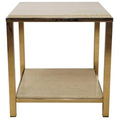 Gold Plated Side Table with Travertine Shelf, 23-Carat by Belgo Chrome, 1970