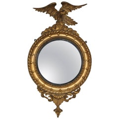 Small 19th Century Convex Mirror with Eagle