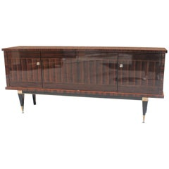 Classic French Art Deco Macassar Ebony Sideboard or Credenza, circa 1940s