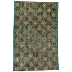 Distressed Vintage Turkish Sivas Rug with English Country Shabby Chic Style