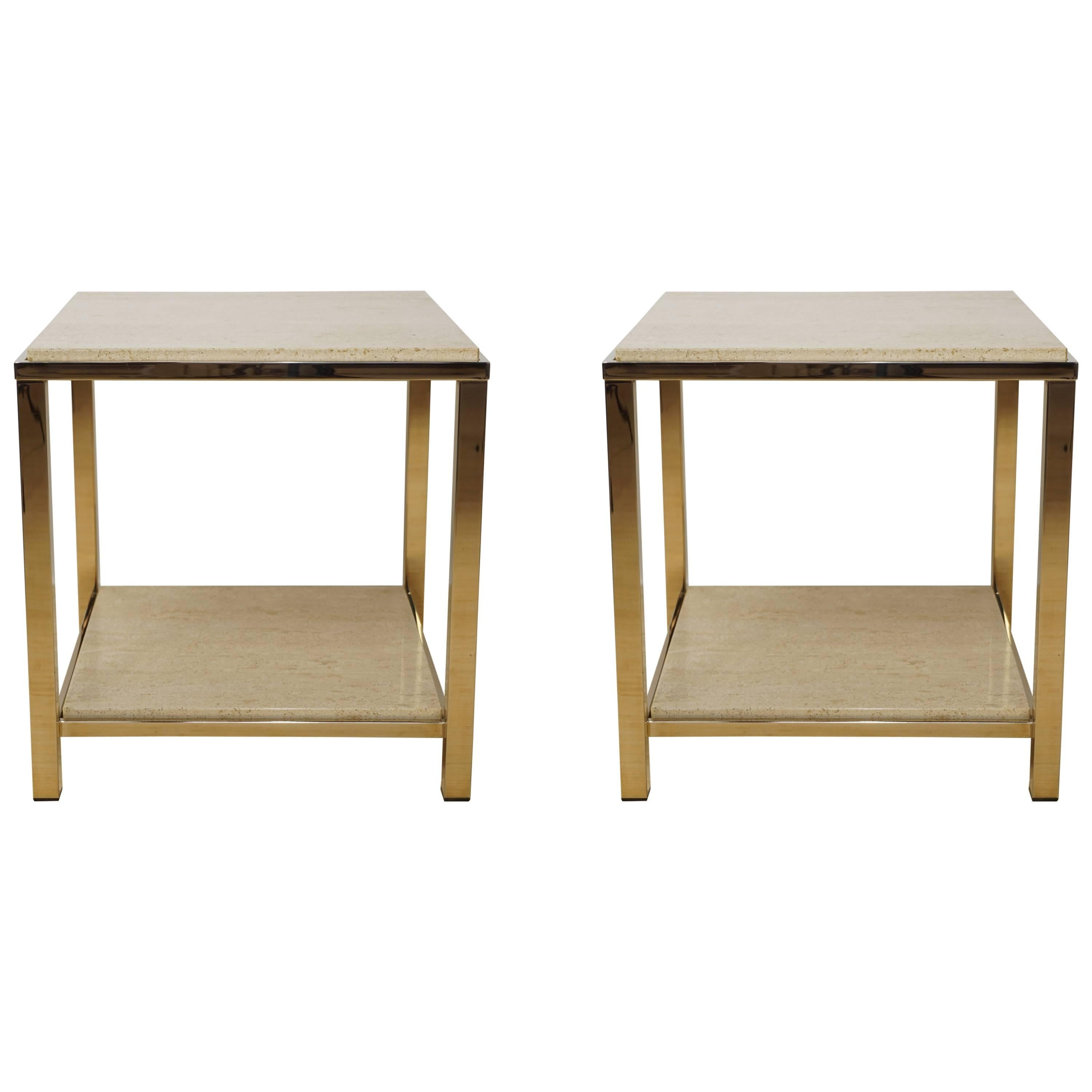 Pair of Gold-Plated Side Table with Travertine Shelf, 23-Carat by Belgo Chrome