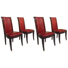 Four Art Deco Dinning Chairs Ebene de Macassar and Red Leather