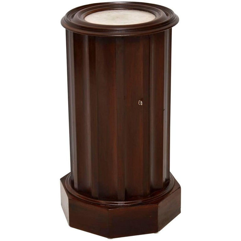 Antique Victorian Mahogany Marble-Top Cylindrical Pot Cupboard