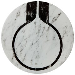 Modern Porcelain Plate in Black and White by Etienne Bardelli
