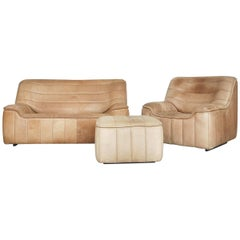 Swiss De Sede DS-84 Leather Living Room Set, Sofa, Armchair and Ottoman, 1970s