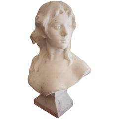 19th Century Marble Bust, in the Style of Falguiere