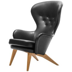 Siesta Lounge Chair in Black Leather Design by Carl Gustav Hiort af Ornäs