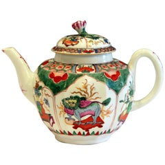 Early Worcester Porcelain Teapot Dragons in Compartments Kylin Bengal Tiger Mark