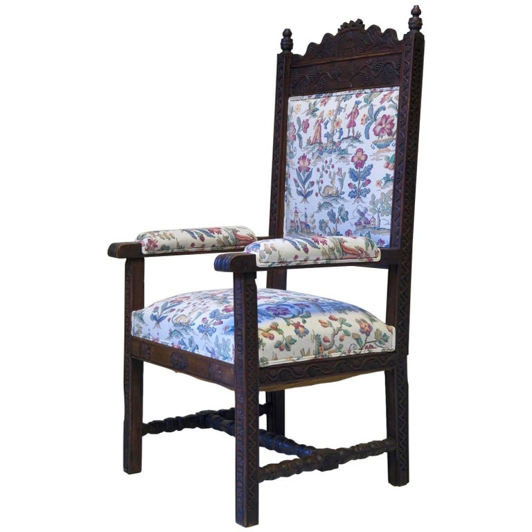 French Carved Folk Art Chair, circa 1880s