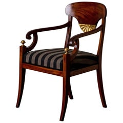 Armchair Swedish Empire Period Mahogany Brown Gilded Detail  Sweden