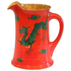 Antique Awaji Pottery Chrome Red Dragon Pitcher Vase Japanese Studio Signed