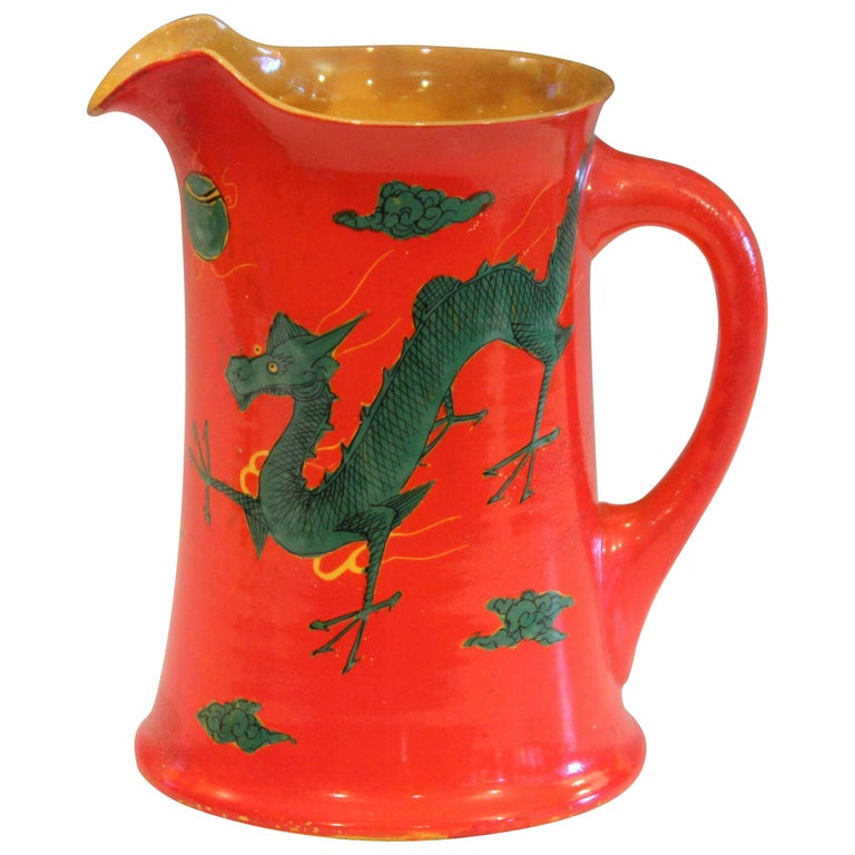 Antique Awaji Pottery Chrome Red Dragon Pitcher Vase Japanese Studio Signed